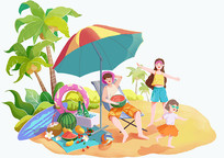 小清新夏季海边沙滩一家人度假的场景插画