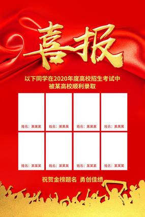 喜庆大气学校中考高考公布栏喜报海报模板