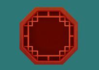 原创手绘插画古典中国风红色多边形窗户
