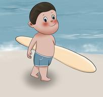 原创手绘插画可爱男孩卡通冲浪元素