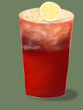 原创手绘插画清凉一夏奶茶饮料草莓元素