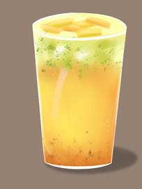 原创手绘插画清凉一夏奶茶饮料柠檬元素
