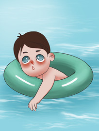 原创手绘插画夏天游泳男孩元素