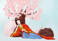 原创手绘插画中国风古典美女醉倒在桃花树下