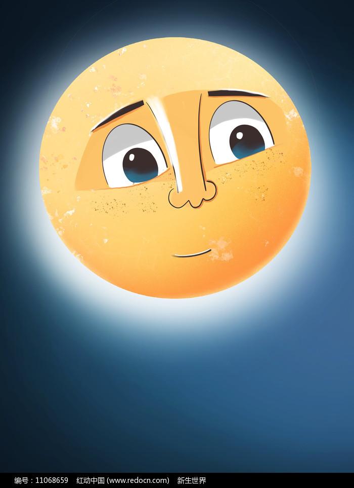 原创手绘插画中秋节创意月亮卡通元素