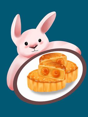 原创手绘插画中秋节兔子月饼元素