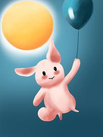 原创手绘插画中秋节兔子月亮元素