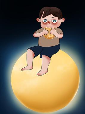 原创手绘插画中秋节小男孩吃月饼元素