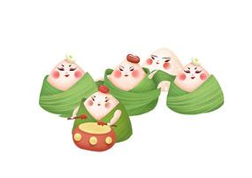 原创手绘端午节粽子卡通插画
