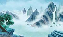 中国风古典水墨山水画插画素材PSD