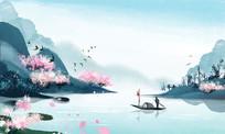 中国风古风春水墨山水风景插画素材