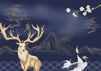 中国风麋鹿仙鹤深蓝色古典描线插画素材