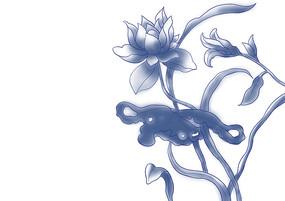 中国风青花瓷花卉花纹主花卉图案素材
