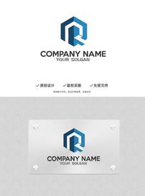 RQ字母建筑立体科技标志logo