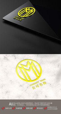 标志MM字母LGOG设计