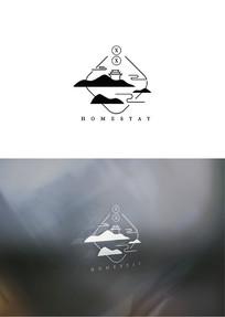 创意新中式酒店民宿logo
