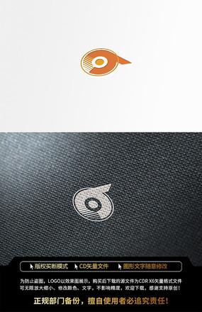 几何圆形字母P橙色LOGO标志设计