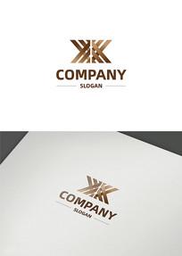 金色创意字母双k企业logo设计