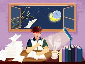 手绘人物夜景学生高考学习场景插画