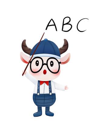 原创可爱卡通动物ABC牛