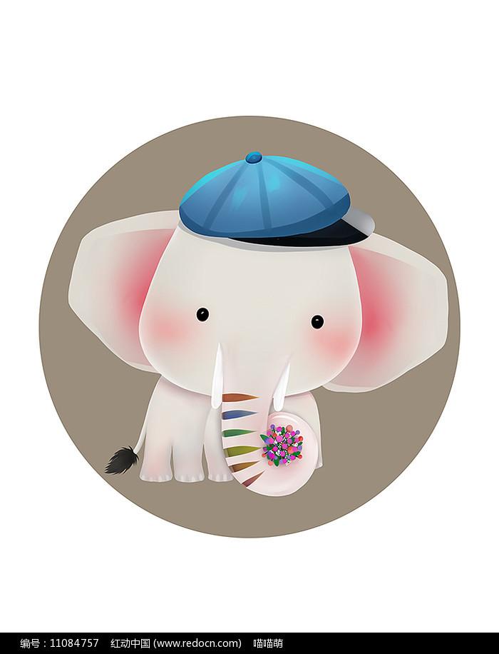原创可爱卡通动物卷花束萌大象