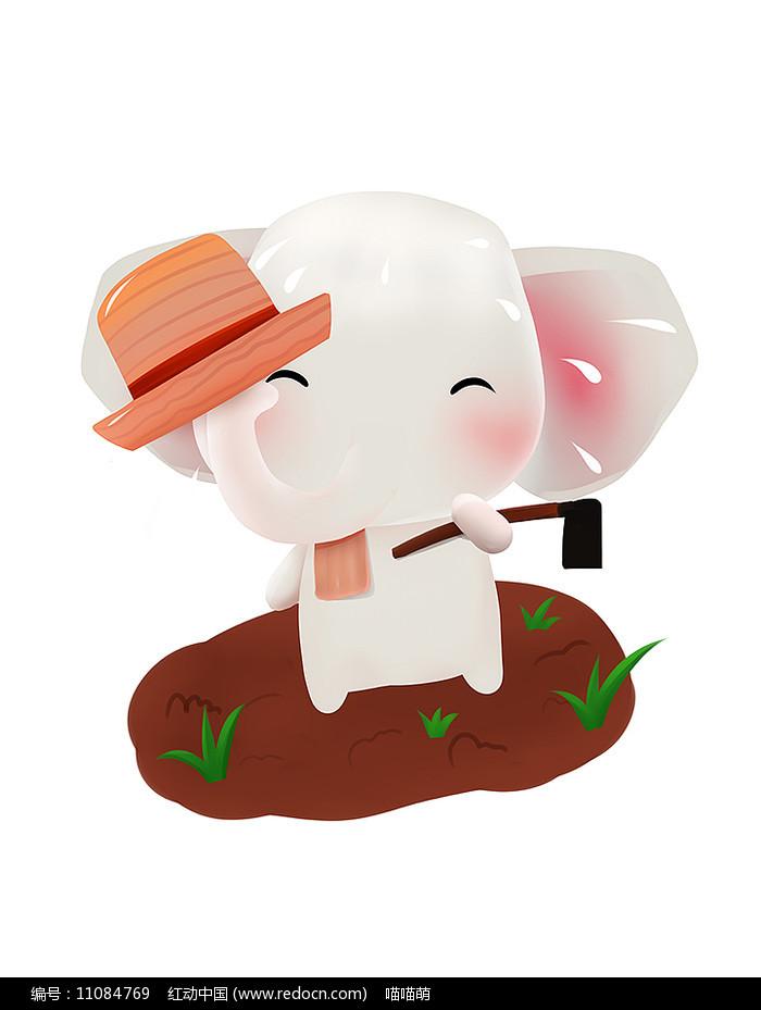原创可爱卡通动物扛锄头农耕作大象