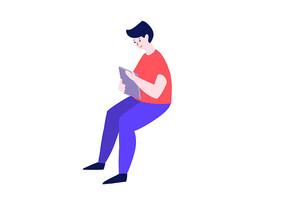 原创手绘卡通人物坐着的男孩学习插画