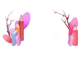 原创手绘学生学习教育植物铅笔文具卡通插画