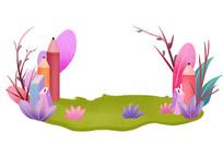 原创手绘植物草地花卉装饰卡通插画