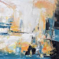 高清抽象立体彩色油画无框画