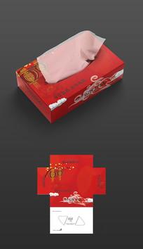红色喜庆抽纸盒包装
