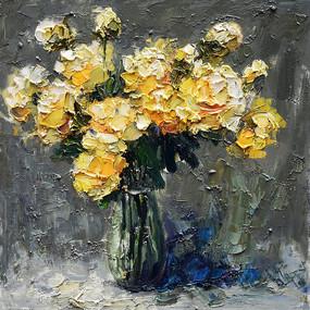 手绘黄色 玫瑰花油画装饰画