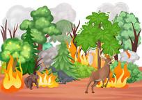 手绘卡通插画森林大火时小动物逃生场景