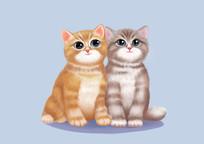 原创手绘动物Q版写实两只虎斑猫卡通插画