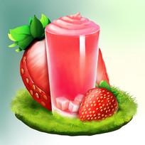 原创夏日草莓饮