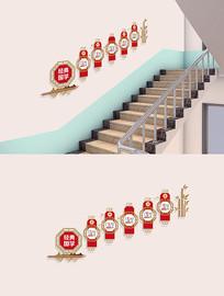 中式校园经典国学楼梯文化墙