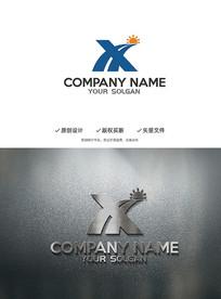 XH字母成功道路太阳创意logo