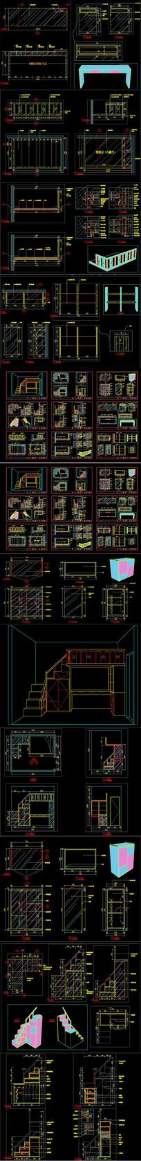 儿童房高低床及配套柜体设计CAD图纸