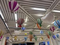 广场活动顶部云端热气球装饰