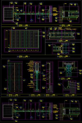 酒店折叠轨道移门隔断CAD隔断节点图