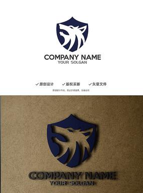 狼头野性团队盾牌标志设计