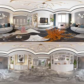 轻奢客厅3D模型设计