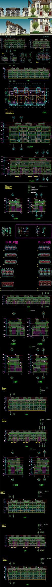 唐风豪宅别墅自建房建筑CADSU模型