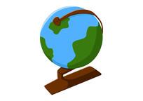 原创手绘学生学习工具地球仪卡通插画