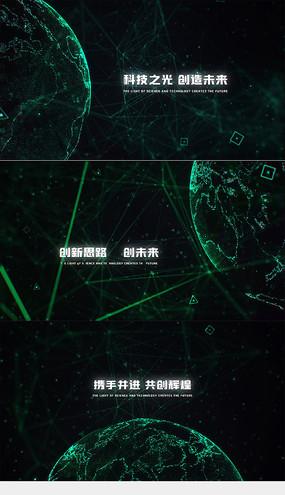 点线地球穿梭文字视频模板