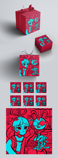个性创意线条中秋月饼包装设计