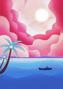 海边日出插画