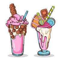 美食冰淇淋甜品矢量手绘插画