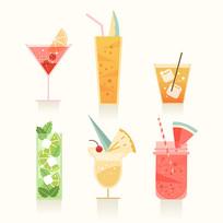 美食果汁饮料矢量手绘插画