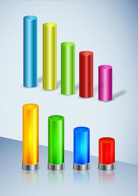 矢量立體圓柱柱狀圖形設計
